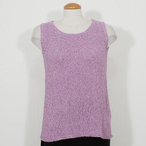 Purple Marled Silk Linen Cord Shell Tank Top XS